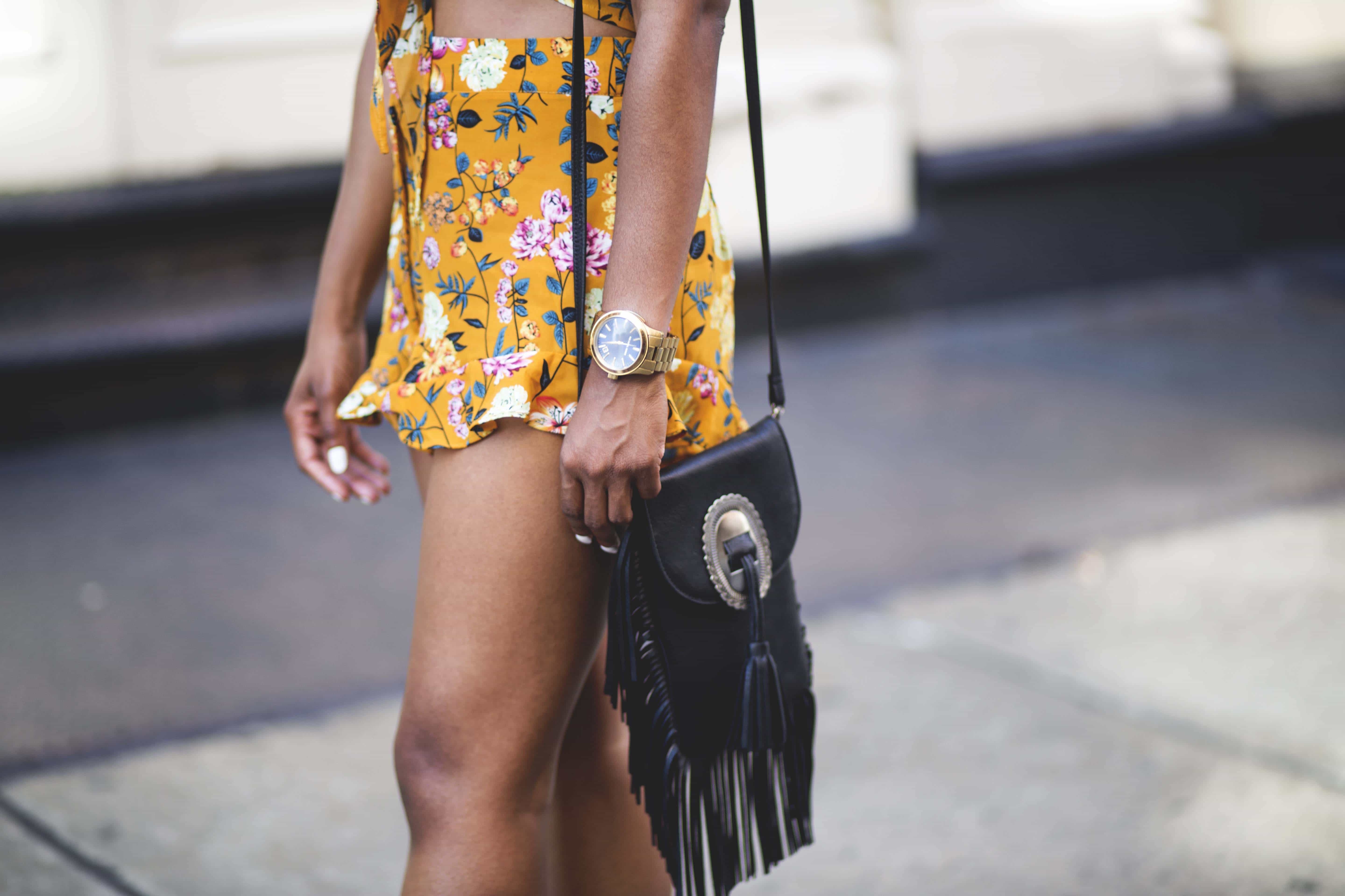Black fringe leather bag