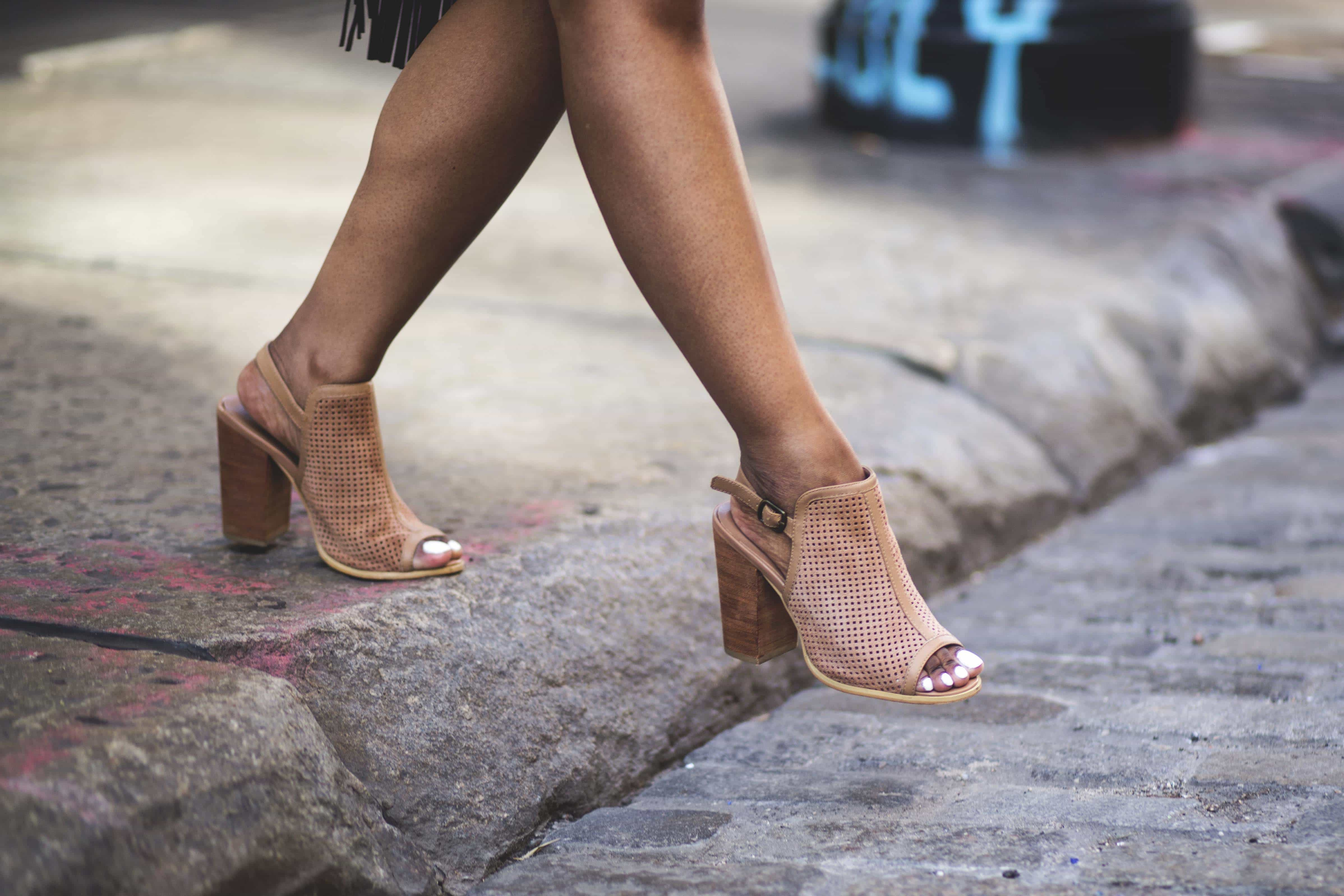 Nude peep toe sandals