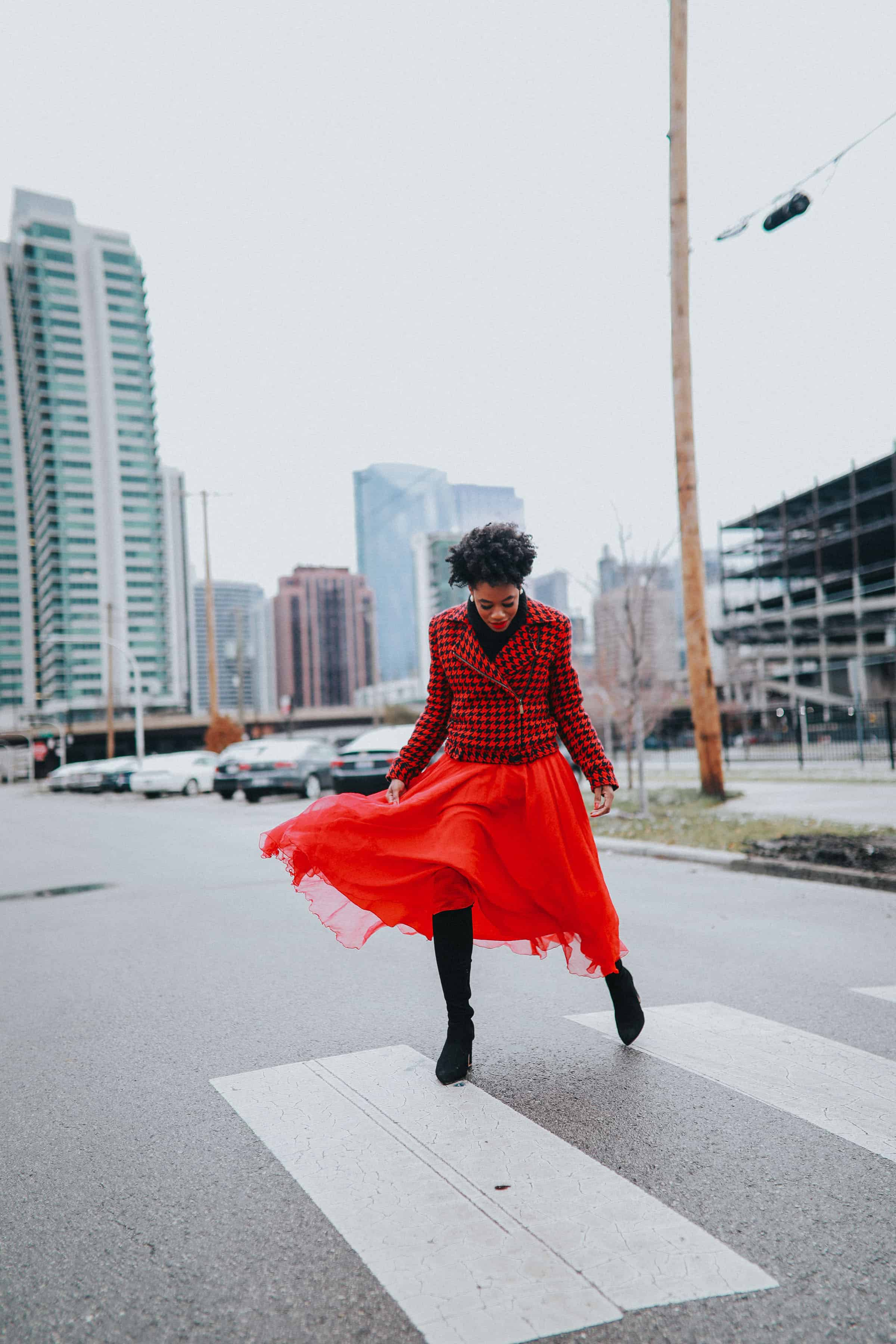 Red Tommy Hilfiger jacket and tulle skirt 1