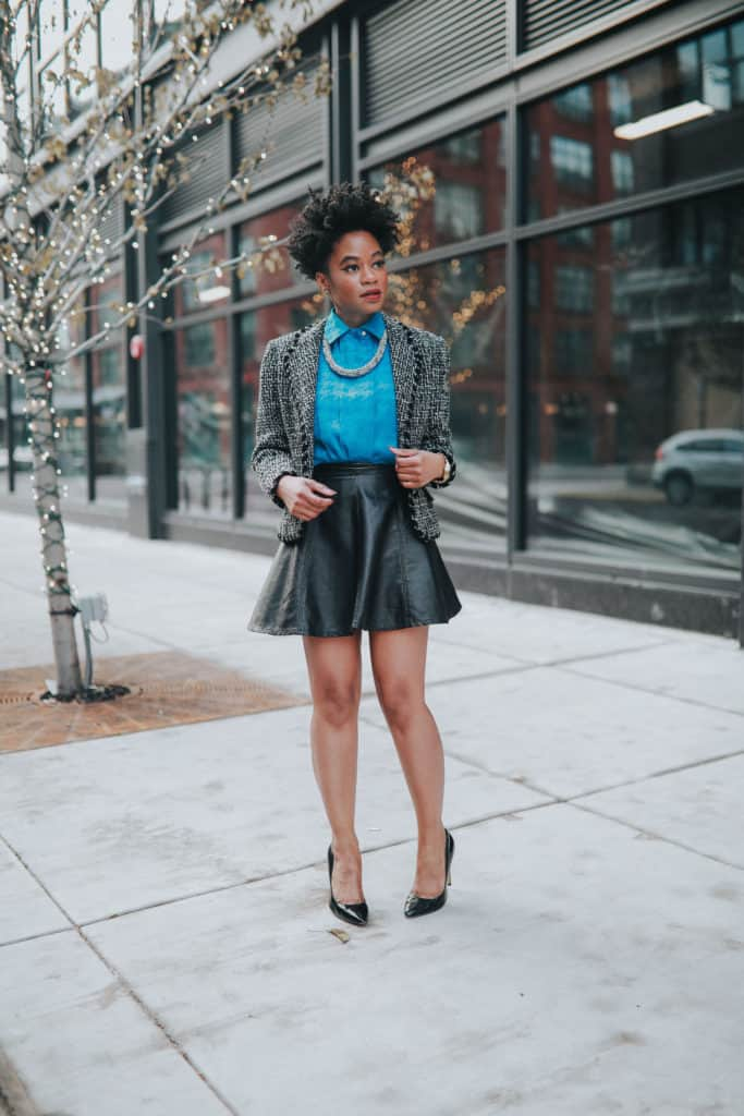 Blue blouse and leather skirt 3