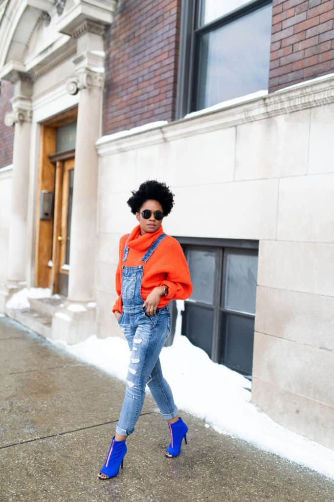 Orange H&M Sweater and Modcloth Overalls 3