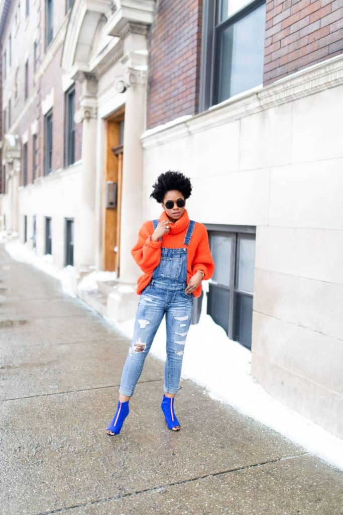 Orange H&M Sweater and Modcloth Overalls 4